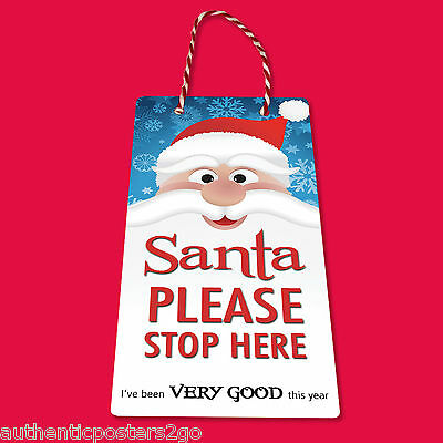 SANTA STOP HERE Door Hanger Kids Xmas Gift Magic Tradition • 1.99£