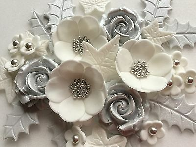 £6.25 • Buy Christmas Cake Decoration Silver & White Roses & Petals Holly & Ivy Edible Icing