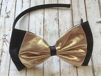 £3.99 • Buy BLACK SATIN GOLD LAME 5  DOUBLE SIDE BOW ALICE HAIR HEAD BAND 80s PARTY GLAMOUR