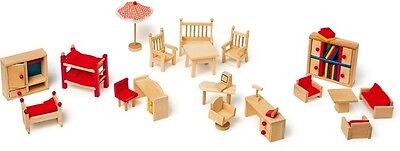 Wooden Dolls House Furniture Kitchen Accessories Garden Tables Chairs NEW • 20.99£