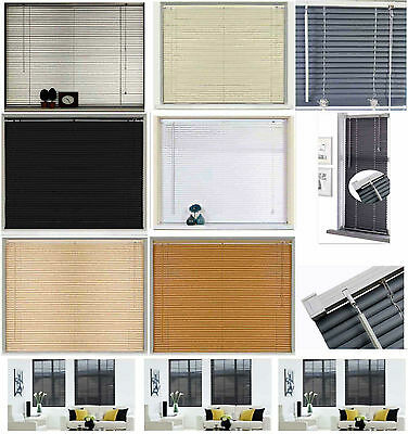 New PVC Blinds Window Venetian Easy Fit Blinds Home Office Wood Effect All Sizes • 11.95£