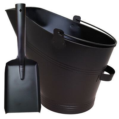 Waterloo Style Traditional Black Fire Coal Bucket Shovel Fireplace Log Scuttle • 13.89£