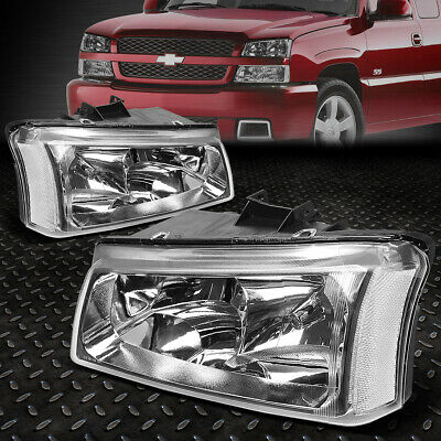 $56.99 • Buy For 03-06 Chevy Silverado Avalanche Chrome Housing Clear Corner Headlight Lamps