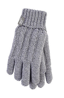 £10.98 • Buy Ladies Cable Knit 2.3 Tog Heatweaver Thermal Gloves By Heat Holders Light Grey
