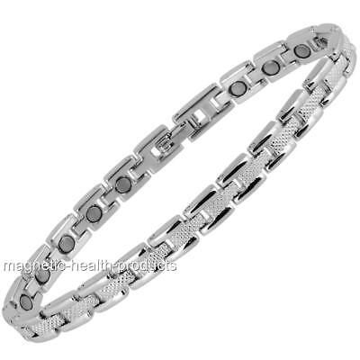 Ladies Magnetic Healing Bracelet Silver Health Bangle - Arthritis Pain Relief 78 • 9.99£