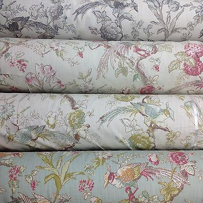 Porter And Stone RENAISSANCE Floral/Bird Cotton Fabric For Upholstery/Curtains. • 14.50£