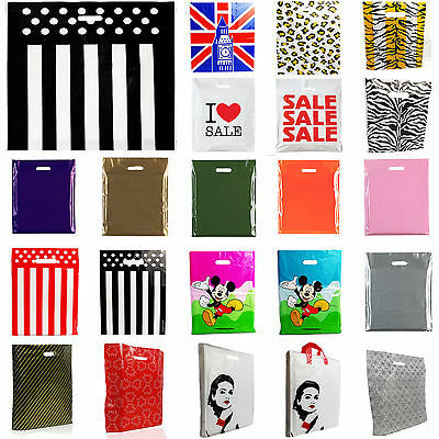 1x25x50x100x Fashion Gift Plastic Bags Sale Bags/Designer Strong Carrier Bags • 10.99£