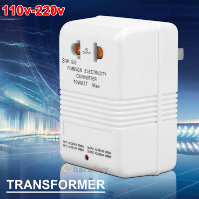 110V To 220V Step-Up & Down Voltage Converter Watt Transformer Travel 70W White • 10.71£