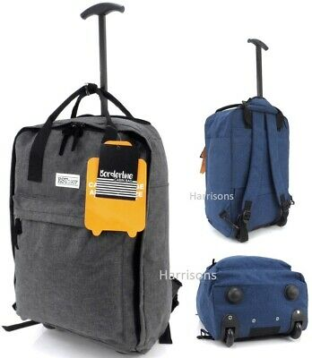 £18.95 • Buy Cabin Approved Backpack Trolley Bag Wheeled Hand Flight Travel Carry Case 19.5
