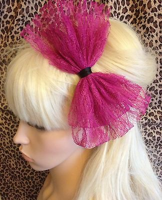 £3.99 • Buy NEW DARK PINK LACE BOW ALICE HAIR HEAD BAND 80s STYLE RETRO PARTY FANCY DRESS
