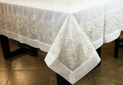 $25 • Buy Rectangle Embroidered Lace Gold Tablecloth Napkins Wedding Party Banquet Event