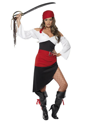 Sexy Pirate Wench Costume Womens Buccaneer Ladies Halloween Fancy Dress Outfit • 19.51£