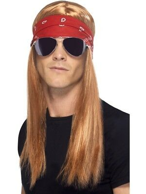 AU23.16 • Buy 90's Rocker Kit Bandana Wig Glasses Adult Mens Smiffys Fancy Dress Costume