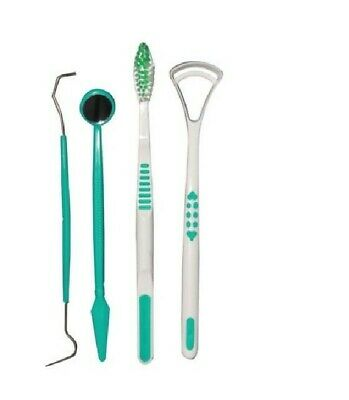 4 Pc Dental Hygiene Set Tooth Brush Plaque Remover Tongue Cleaner Mirror Teeth • 2.49£