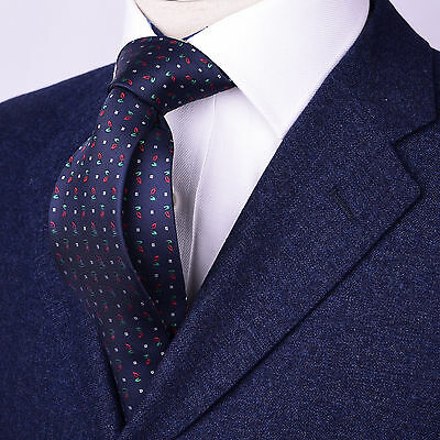 $9.99 • Buy Mens Navy Blue Skinny Tie Floral Paisley 3  Christmas Sexy Woven Luxury Fashion