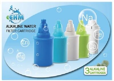 EHM 3 PACK Filter Replacement Cartridge Alkaline Mineral Water Ionizer Pitchers • 21.45£