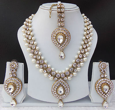 $33.99 • Buy Indian Bollywood Style Fashion Gold Plated Bridal Jewelry Necklace Set Style 12