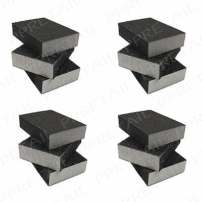12Pc Sanding Foam/Sponge Block Set TOP QUALITY Double Sided Mixed Grits Pads • 10.17£