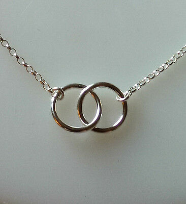 Sterling Silver Double Interlocking Circle Links Necklace , Karma, Eternity,  • 14£