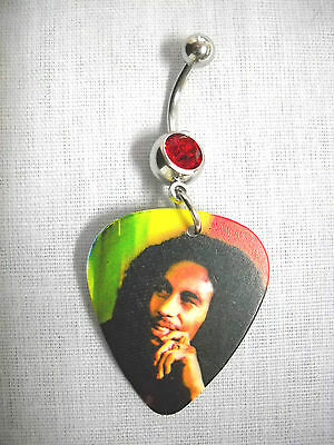 £4.09 • Buy NEW RASTA MUSIC BOB MARLEY DEEP THOUGHT GUITAR PICK 14g RED CZ BELLY BUTTON RING