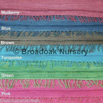 £14.99 • Buy FAIR TRADE SINGLE COLOURED INDIAN RAG RUG, Recycled Cotton, Handmade, Two Sizes