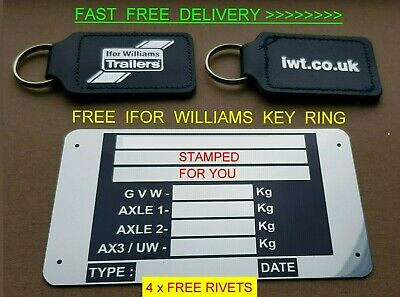 Stamped! Free Ifor Williams Key Ring Trailer Vin Plate Car Horse Box Ramp Tipper • 29.99£