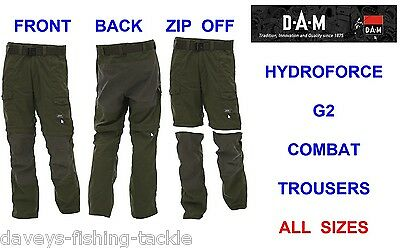 Dam Hydroforce G2 Combat Trousers Zip Off Shorts Coarse Carp Fishing Hiking • 36.99£