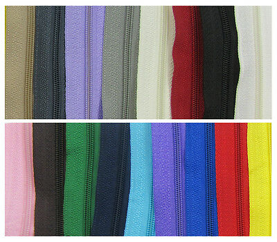 £3.29 • Buy CONTINUOUS ZIP & SLIDERS No.3  *19 COLOURS* ZIPPER CUSHIONS HABERDASHERY1 Or 5 M