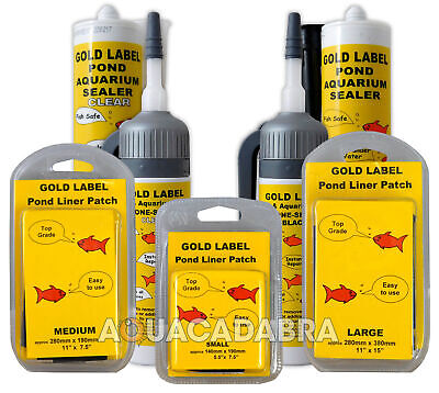 Gold Label Pond Liner Repair Patches Clear/black Sealant Underwater Fish Garden • 15.95£