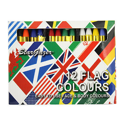Body & Face Paint Sticks By Stargazer Set Of 12 Stage Make Up Fancy Dress Flags • 4.49£