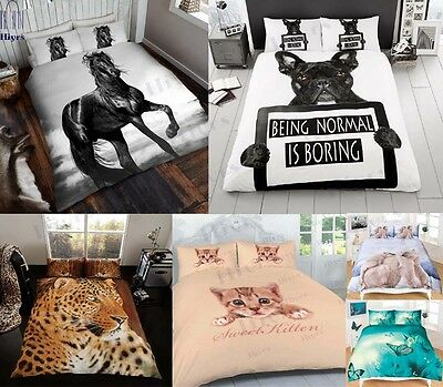 Duvet Cover Sets 3D Animal Print Bedding Pillow Cases Lot Size Animal Lovers New • 17.95£