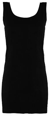 Womens Ladies Long Stretchy Plain Round Scoop Neck SLEEVELESS Vest/Top/T Shirt  • 1.50£