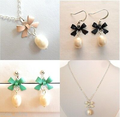£3.49 • Buy Genuine Pearl Earrings Necklace Set, Tiny Bow, Gift,Box, Clip On /  Pierced, UK