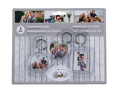 Set Of 3 Photo Keyrings Clear Acrylic Plastic Keyrings Insert Your Own Photos  • 1.99£