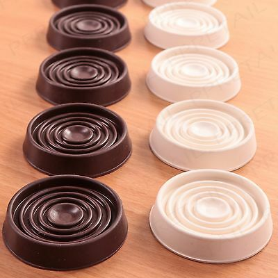 4x LARGE RUBBER NON SLIP CASTOR CUPS WHITE BROWN Floor Wood Laminate Feet Cap • 3.25£
