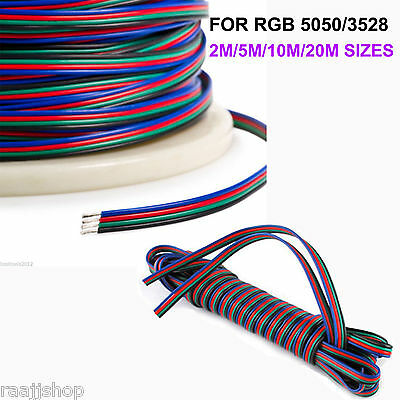 Brand New 2m 5m 10m 20m 4 Pin Rgb Extension Cable Wire For 3528 5050 Led Strip • 2.49£