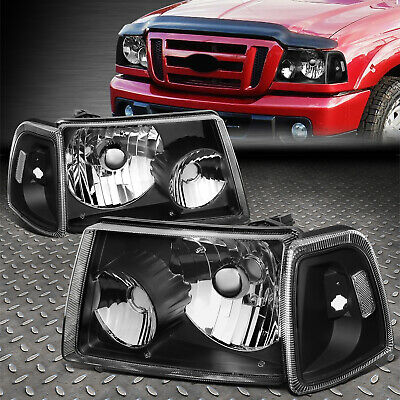 $72.06 • Buy For 01-11 Ford Ranger Black Housing Clear Corner Headlight Replacement Headlamp