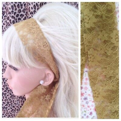 GOLD FLORAL LACE 50s VINTAGE STYLE HEAD SCARF HAIR BAND SELF TIE BOW 80s RETRO • 2.99£