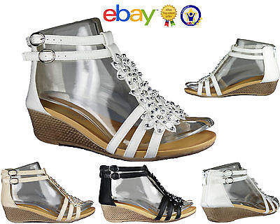 £13.85 • Buy Ladies Womens Strappy Girls Gladiator Flower Daimente Casual Wedge Sandals Size