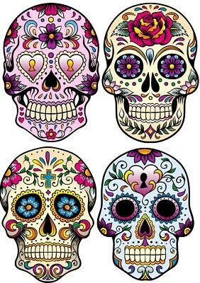Mexican Sugar Skull Vinyl Sticker Pack Of 4 Wall Sticker • 8.99£