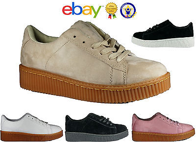 Womens Ladies Chunky Suede Platform Trainers Running Creepers Sports Shoes Sizes • 10.95£