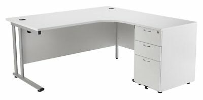 £321.99 • Buy Relax Office 1600mm Right Hand Crescent Desk With 3 Drawers Pedestal Desk-White