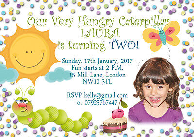 10 X Personalised Birthday Photo Invitations Thank You Cards Hungry Caterpillar • 5.99£