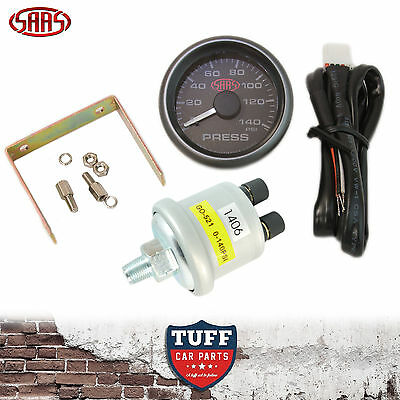 AU72 • Buy SAAS Oil Pressure Gauge Black Face Dial 52mm Multi Colour + Sender & Fitting Kit