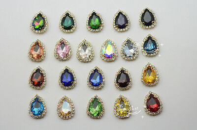 $5.59 • Buy 10pcs13x18mm Costume Dress Tear Drop Color Rhinestone Applique Sewing On Button