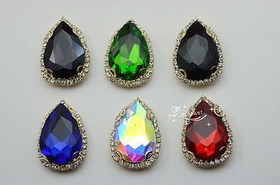$8.51 • Buy 10 Costume Dress Tear Drop Color Rhinestone Applique Sewing On Button 20x30mm