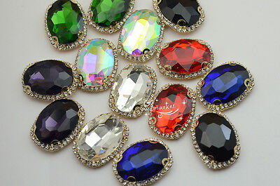 $7.65 • Buy 10 Pcs Costume Dress Oval Color Rhinestone Applique Sewing On Button 20x30mm