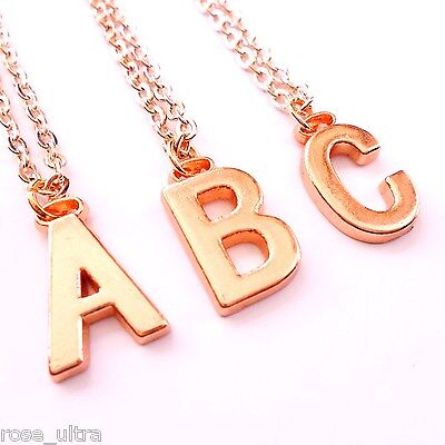 £2.99 • Buy Rose Gold Initial Necklace, Personalised Alphabet Letter Pendant Chain Plated UK
