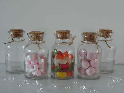 Small Clear Glass Cork Lid Bottles Jars Party Sweets Wedding Table Favours 6x10 • 11.25£