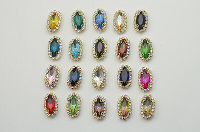 $9.89 • Buy 30 Pcs Costume Dress Navette Color Rhinestone Applique Sewing On Button 7x15mm